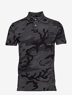 Custom Slim Fit Camo Mesh Polo - CHARCOAL RL CAMO