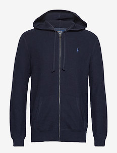 Cotton Full-Zip Sweater - NAVY HEATHER