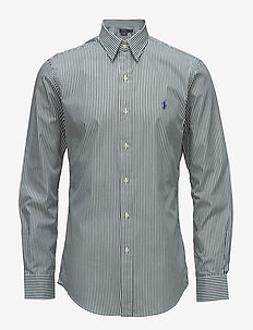 Slim Fit Striped Poplin Shirt - 2364C FOREST/WHIT