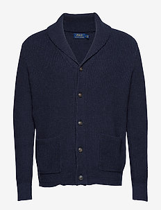 Cotton Shawl-Collar Cardigan - NAVY HEATHER