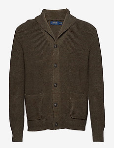 Cotton Shawl-Collar Cardigan - OLIVE HEATHER