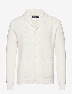 Cotton Shawl-Collar Cardigan - WHITE