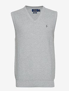 Cotton V-Neck Sweater Vest - ANDOVER HEATHER