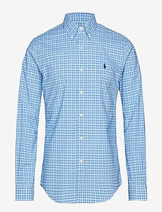 Slim Fit Gingham Cotton Shirt - rutede skjorter - 3016b cyan/navy