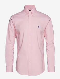 Slim Fit Gingham Cotton Shirt - CARMEL PINK