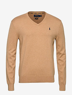 Slim Fit Cotton V-Neck Sweater - basic-strickmode - camel melange