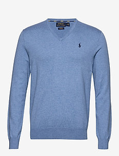 Slim Fit Cotton V-Neck Sweater - basic gebreide truien - soft royal heathe