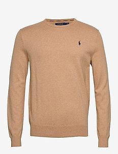 Slim Fit Cotton Sweater - basisstrikkeplagg - camel melange