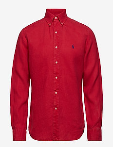 Slim Fit Linen Shirt - BERMUDA RED