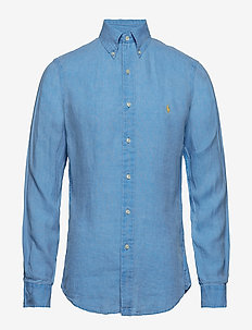 Slim Fit Linen Shirt - RIVIERA BLUE