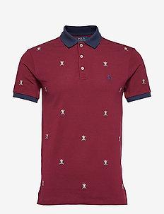 Slim Fit Embroidered Polo - CLASSIC WINE AO E