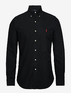 Slim Fit Cotton Oxford Shirt - BLACK