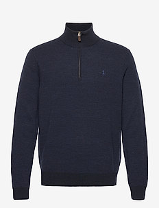 Washable Merino Wool Sweater - half zip jumpers - navy two tone