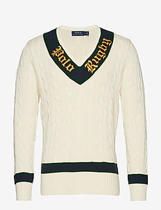 Rugby Cricket Sweater - CREAM/FOREST/WINE