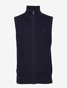 Cotton Full-Zip Sweater Vest - podstawowa odzież z dzianiny - navy heather