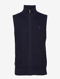 Cotton Full-Zip Sweater Vest - basisstrikkeplagg - navy heather