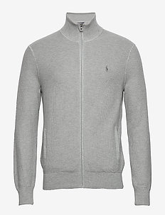 Cotton Mesh Full-Zip Sweater - basic-strickmode - andover heather