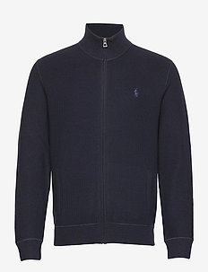 Cotton Mesh Full-Zip Sweater - basic knitwear - navy heather