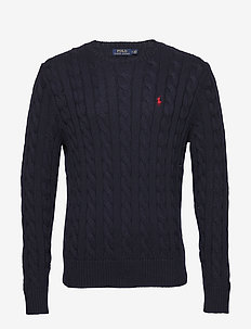 Cable-Knit Cotton Sweater - stickade basplagg - hunter navy