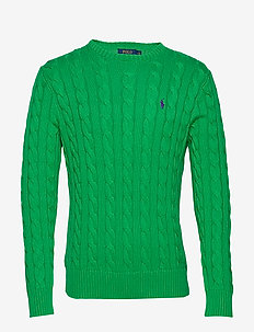 Cable-Knit Cotton Sweater - basic strik - new tie green