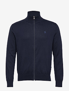 Cotton Full-Zip Sweater - basic-strickmode - hunter navy