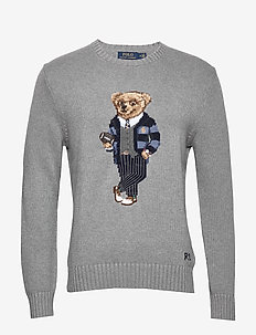 Polo Bear Cotton Sweater - GREY HEATHER