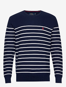 Striped Cotton Sweater - NEWPORT NAVY/ WHI