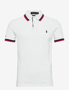 Slim Fit Mesh Polo Shirt - WHITE MULTI