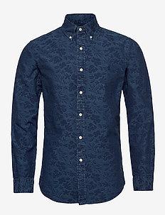 Slim Fit Floral Jacquard Shirt - 4381A INDIGO JACQ