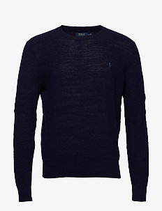 Cotton-Linen Crewneck Sweater - basic strik - bright navy