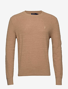 Cotton-Linen Crewneck Sweater - stickade basplagg - camel melange