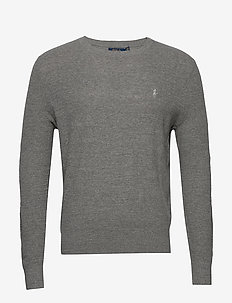 Cotton-Linen Crewneck Sweater - basic strik - fawn grey heather