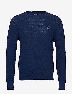 Cotton-Linen Crewneck Sweater - INDIGO HEATHER