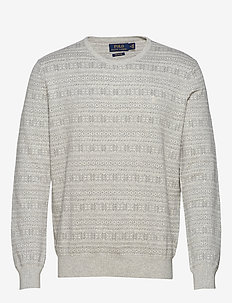 Fair Isle Cotton Sweater - round necks - grey fairisle