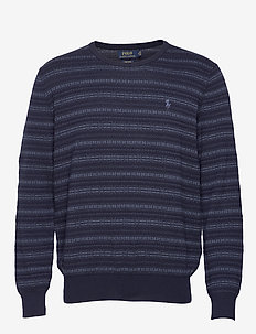 Fair Isle Cotton Sweater - rundhals - navy fairisle