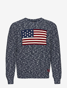 Flag Marled Cotton Sweater - rundhalsad - denim ragg