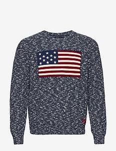 Flag Marled Cotton Sweater - round necks - denim ragg