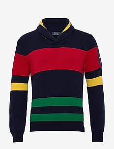 Striped Cotton Shawl Sweater - NAVY/GREEN/RED/YE