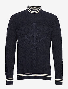 Hand-Embroidered Sweater - golfy - navy/cream