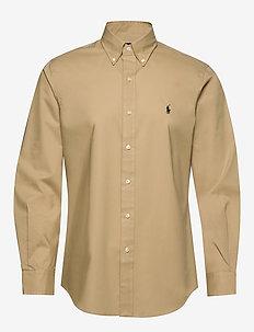 Custom Fit Striped Shirt - basic shirts - coastal beige