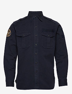 Classic Fit Twill Shirt - overshirts - 4496 navy multi