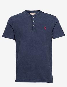 Slub Jersey Henley Shirt - logo t-shirts - cruise navy