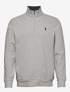 Cotton Mesh Half-Zip Pullover - ANDOVER HEATHER/C