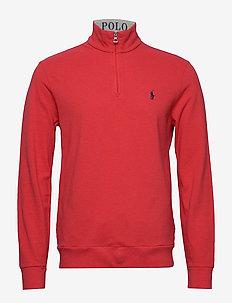 Cotton Mesh Half-Zip Pullover - basic sweatshirts - rosette heather/c