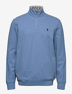 Cotton Mesh Half-Zip Pullover - SOFT ROYAL HEATHE