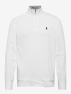 Cotton Mesh Half-Zip Pullover - basic sweatshirts - white/c7996