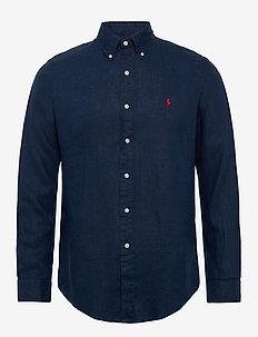Custom Fit Linen Shirt - basic skjorter - newport navy