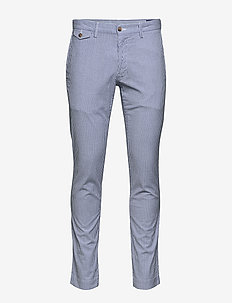 SLIM FIT BEDFORD PANT - BLUE/WHITE SEERSU