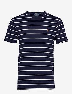 Custom Slim Fit Cotton T-Shirt - FRENCH NAVY/WHITE