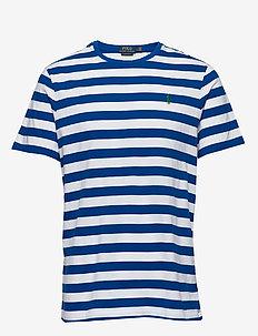 Custom Slim Striped T-Shirt - short-sleeved t-shirts - pacific royal /wh